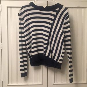 Topshop navy and white striped sweater top